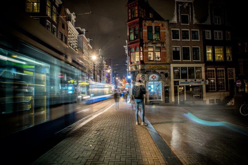 uliczny Amsterdam, Holland, Netherland, noc zdjęcie stock