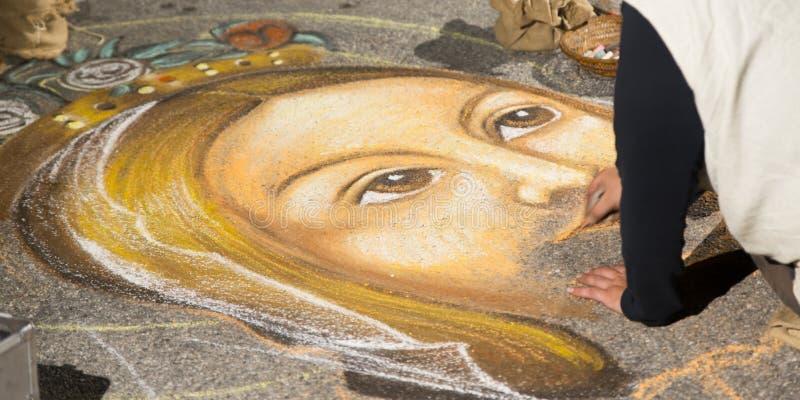 Uliczny artysta który maluje Jezus fotografia stock