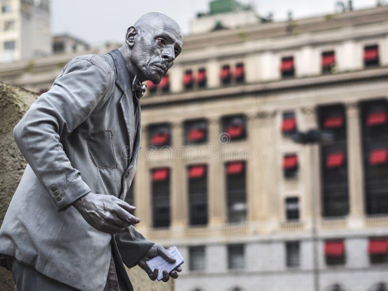 Uliczny artysty spełnianie w W centrum Sao Paulo, Brazylia obrazy royalty free