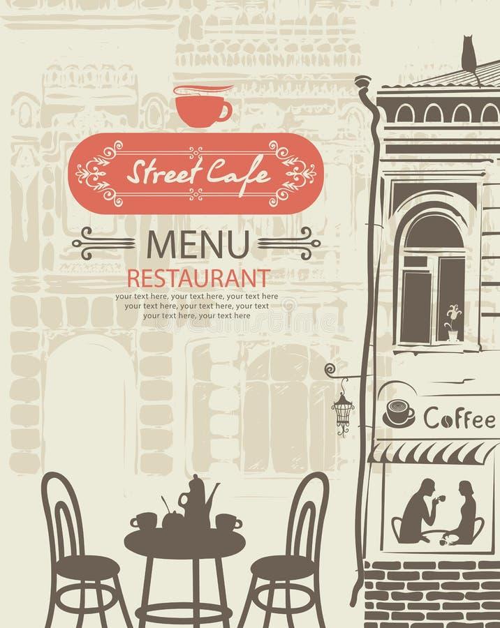 Uliczny cukierniany menu z stołem dla dwa w starym miasteczku royalty ilustracja