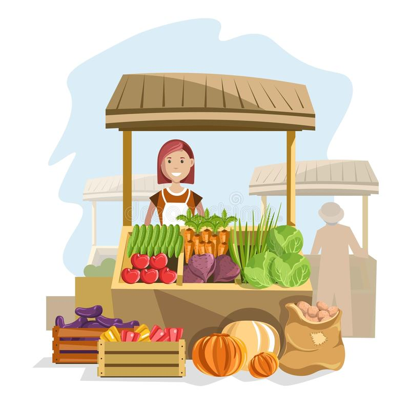 Uliczny drewniany kontuar z świeżymi organicznie warzywami i żeńskim sprzedawcą ilustracji