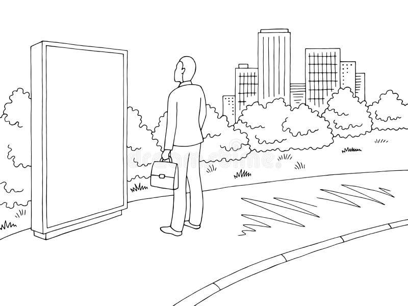 Uliczny drogowy graficzny czarny biały miasto krajobrazu nakreślenia ilustraci wektor Mężczyzna pozycja i patrzeć billboard royalty ilustracja
