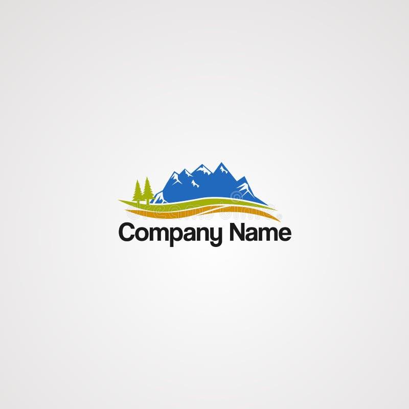 Uliczny halny logo wektor z sosną, elementem, firmą i ikoną dla firmy, fali i drzewa, zdjęcia stock