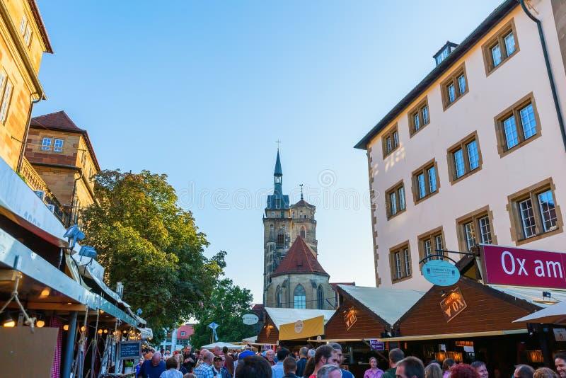 Uliczny jarmark w mieście Stuttgart, Niemcy zdjęcia stock