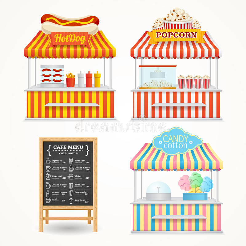 Uliczny jedzenie rynku set wektor ilustracji