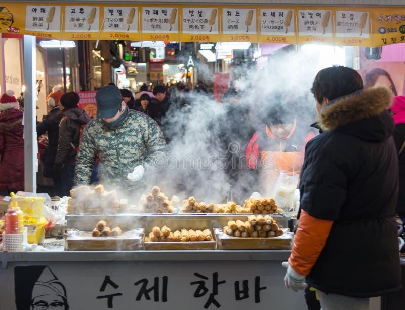 Uliczny jedzenie wokoło Seul, Południowy Korea fotografia stock