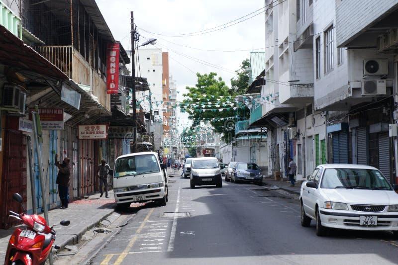 Uliczny kapitał Mauritius Port Louis wczesny niedziela rano obrazy royalty free