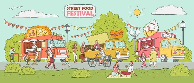 Uliczny karmowy festiwal - lody ciężarówka, pizza sprzedawcy samochód, hot dog stojak royalty ilustracja