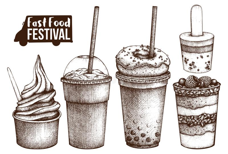 Uliczny karmowy festiwalu menu Rocznika nakreślenia kolekcja burrito fasta food kebab pasztetowy ustalony taco Grawerujący stylow ilustracji