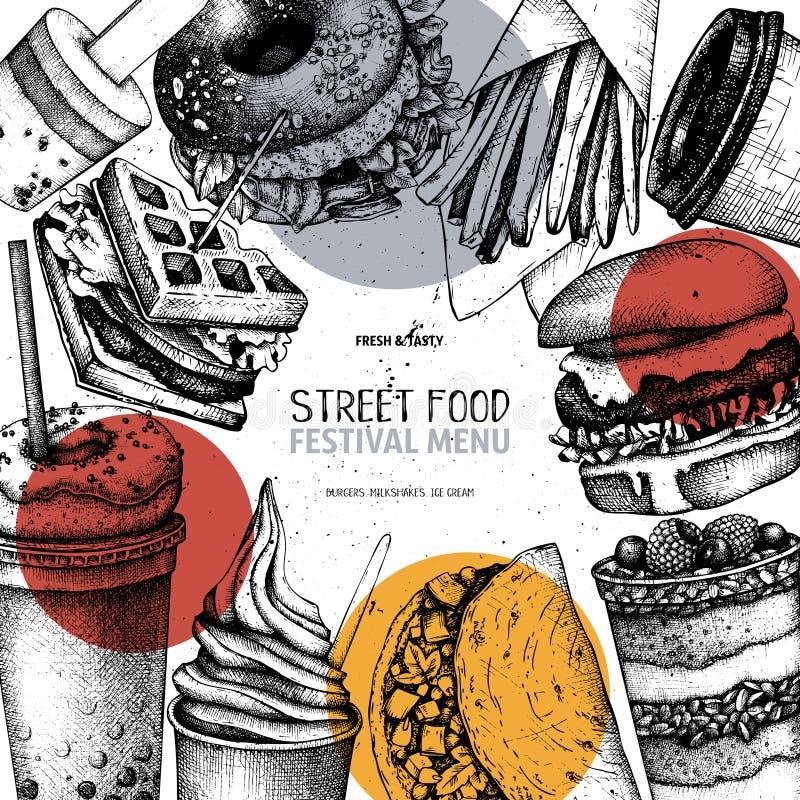 Uliczny karmowy festiwalu menu Rocznika nakreślenia kolekcja Fast food grawerujący stylowy projekt Wektorowy szablon dla logo, ik royalty ilustracja
