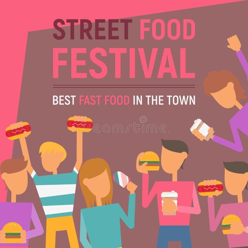 Uliczny karmowy festiwalu plakat ilustracji