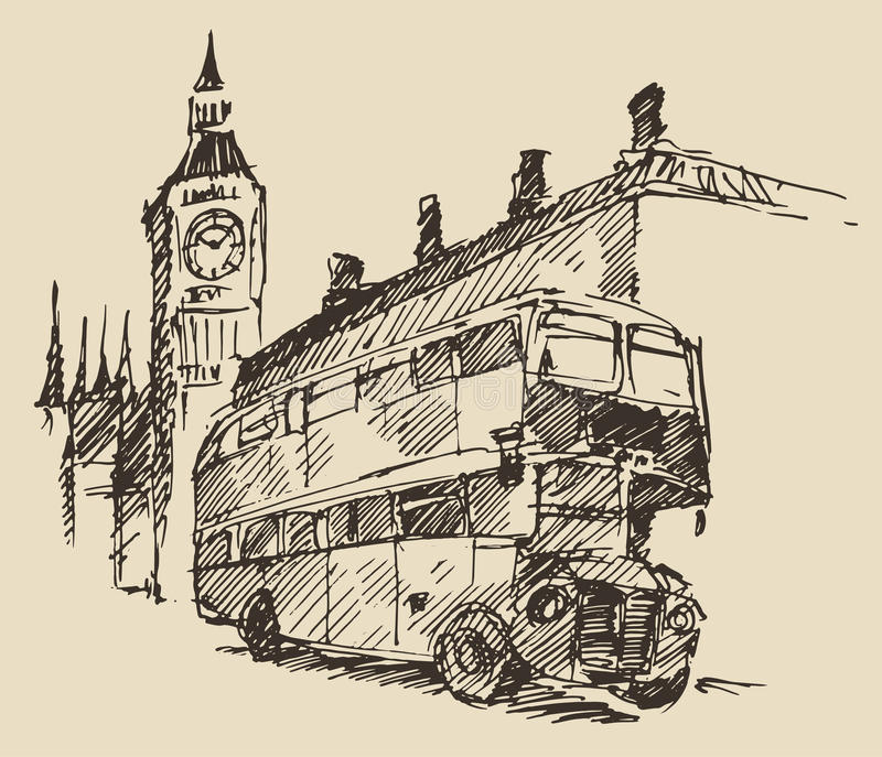 Uliczny Londyński Anglia Big Ben rocznika Autobusowy nakreślenie ilustracja wektor