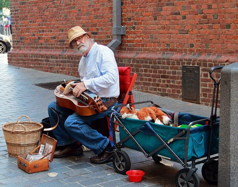 Uliczny muzyk w Boston obrazy royalty free