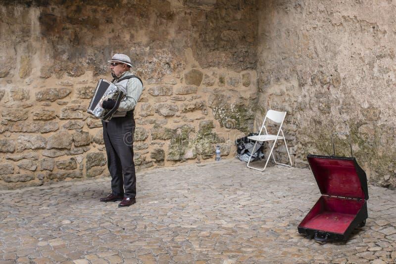 Uliczny muzyk w miasteczku Obidos, Portugalia zdjęcie royalty free