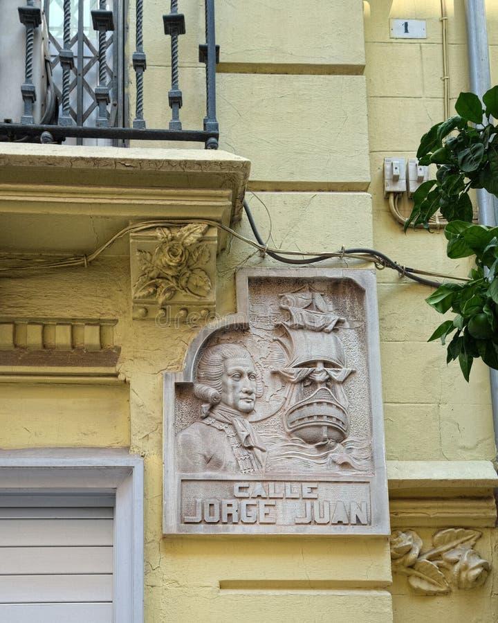 Uliczny nameplate w Walencja, Hiszpania obrazy stock