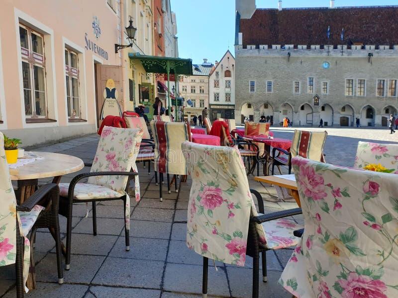 Uliczny Restoran w miasta lata wieczór w Starym miasteczku Tallinn Estonia 2019 marszu rynku podróż państwa bałtyckiego Europa obraz royalty free