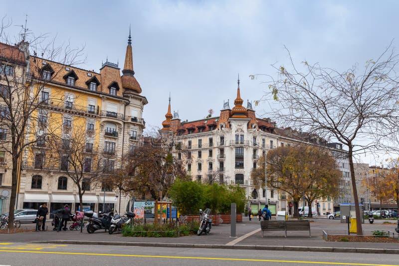 Uliczny widok Genewa, Szwajcaria obraz royalty free