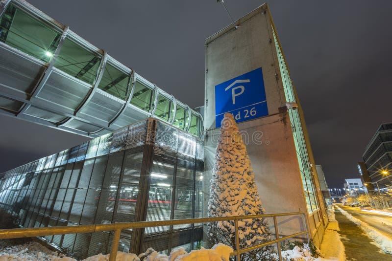 Uliczny widok Hannover przy zima wieczór fotografia royalty free
