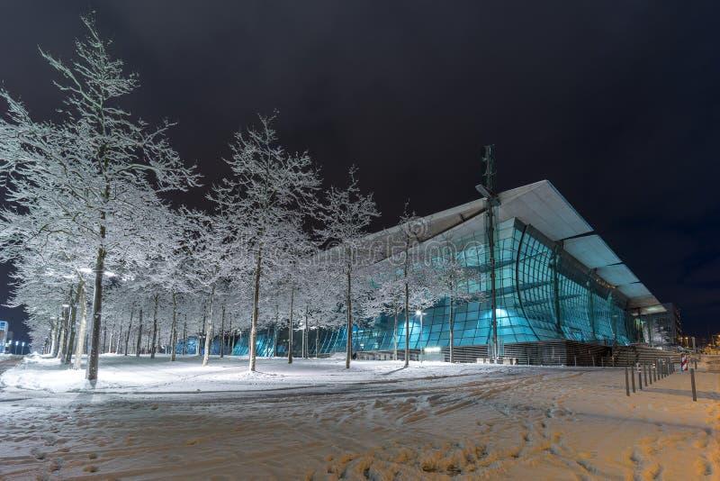 Uliczny widok Hannover przy zima wieczór fotografia stock