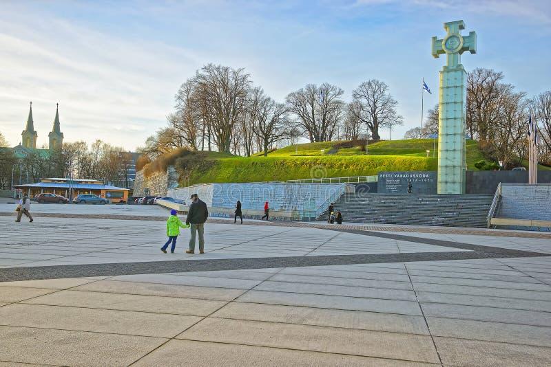 Uliczny widok krzyż wolność przy wolność kwadratem w Talli zdjęcia stock