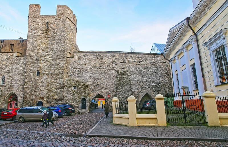 Uliczny widok miasto ściana w Starym mieście w Tallinn w Eston obraz stock