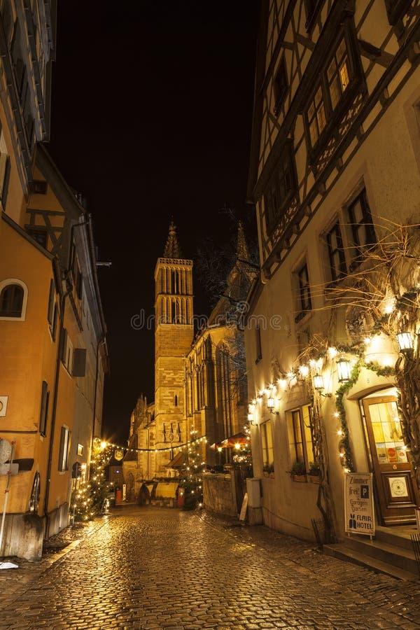 Uliczny widok Rothenburg ob dera Tauber przy wieczór zdjęcie royalty free