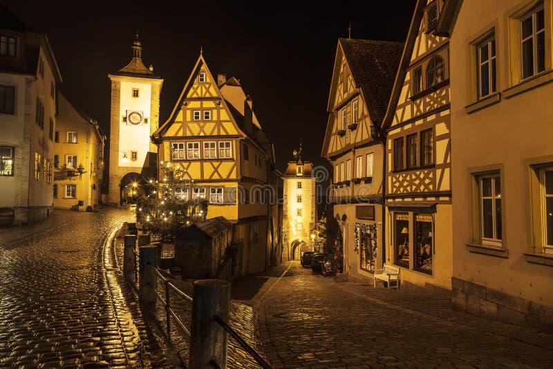 Uliczny widok Rothenburg ob dera Tauber przy wieczór fotografia royalty free