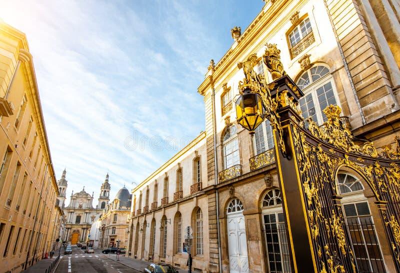 Uliczny widok w Nancy mieście, Francja fotografia stock
