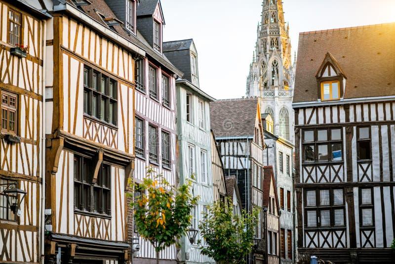 Uliczny widok w Rouen mieście, Francja obrazy royalty free