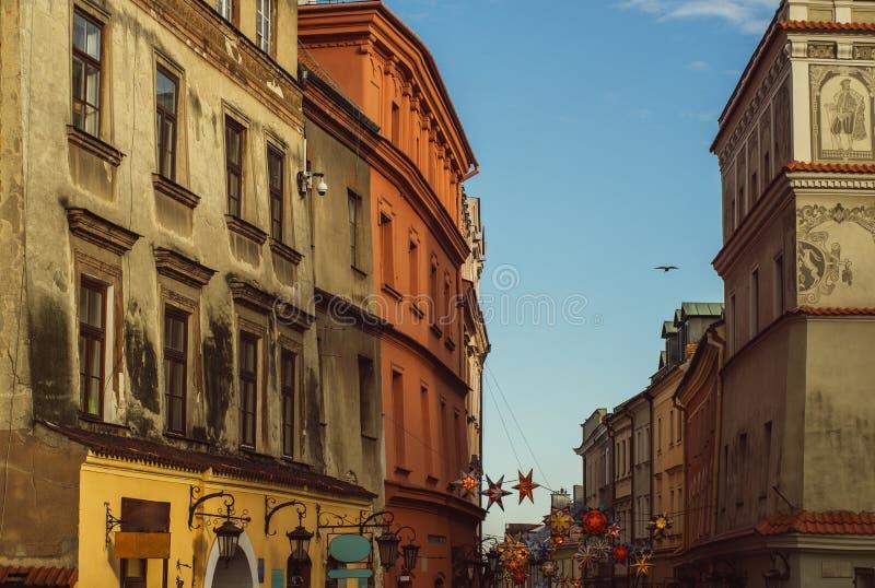 Uliczny widok w starym centrum Lublin, Polska fotografia stock