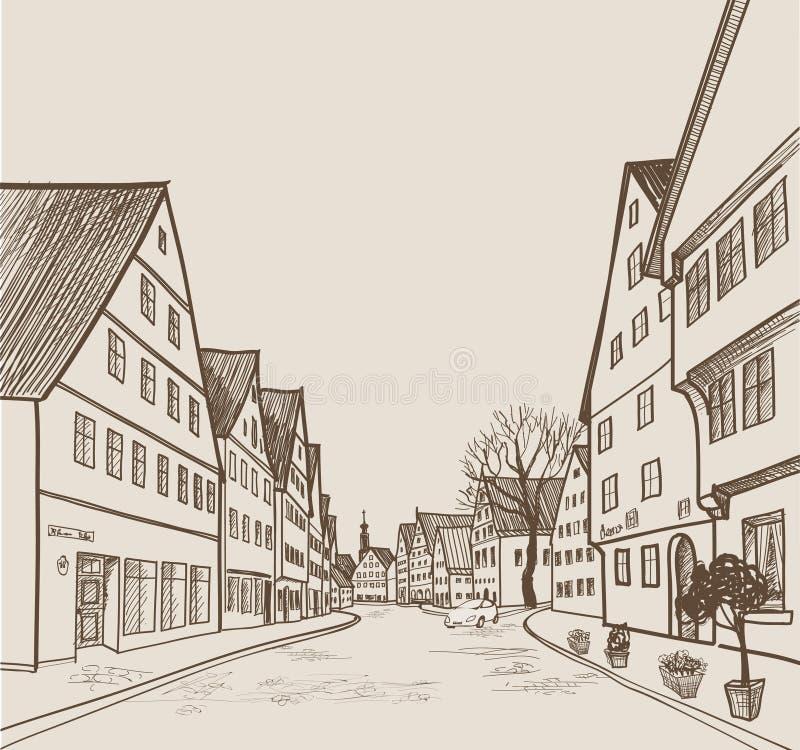 Uliczny widok w starym europejskim mieście Retro pejzaż miejski - domy, budynki, drzewo na alleyway ilustracja wektor