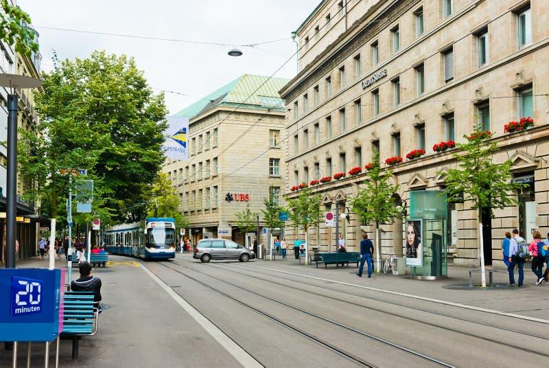 Uliczny widok w Zurich, Szwajcaria Zurich jest wielkim miastem zdjęcia stock