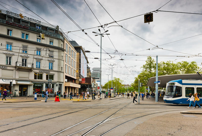 Uliczny widok w Zurich, Szwajcaria Zurich jest wielkim miastem zdjęcie stock