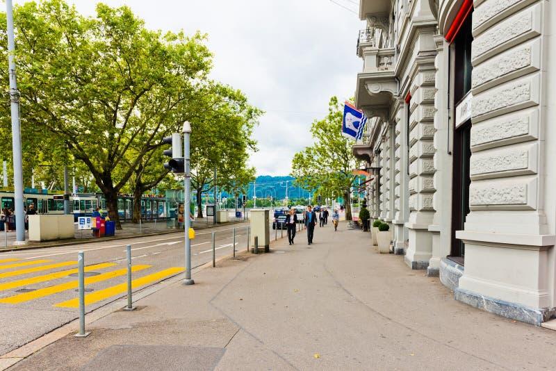 Uliczny widok w Zurich, Szwajcaria Zurich jest wielkim miastem zdjęcie royalty free