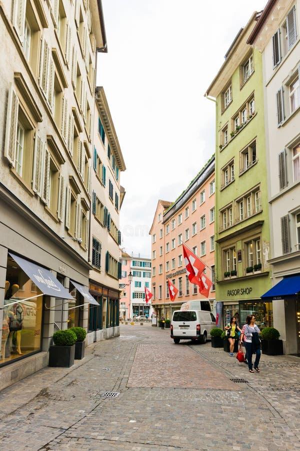 Uliczny widok w Zurich, Szwajcaria Zurich jest wielkim miastem obraz stock