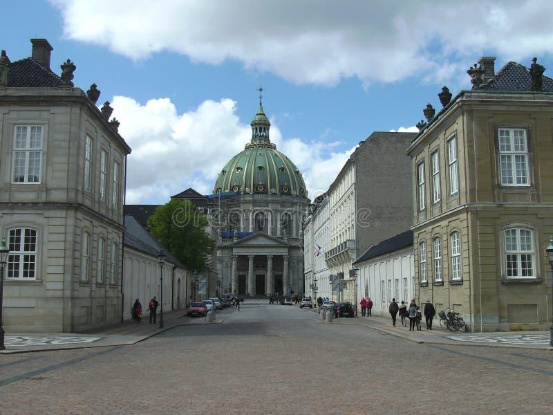 Uliczny widoku, parlamentu i Royal Palace teren, Kopenhaga, Dani zdjęcie royalty free