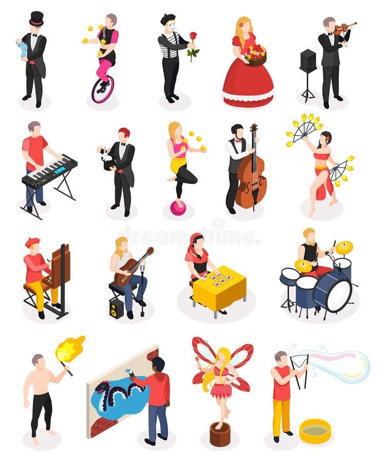 Ulicznych artystów Isometric ludzie ilustracji
