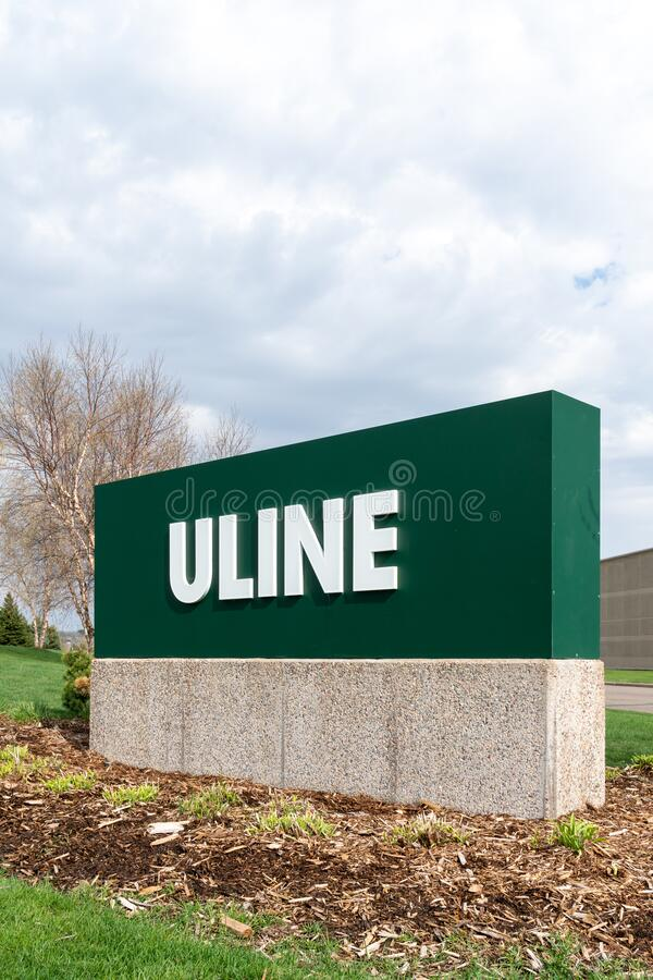 Uline Distribution Center Exterior and Trademark Logo stock photography