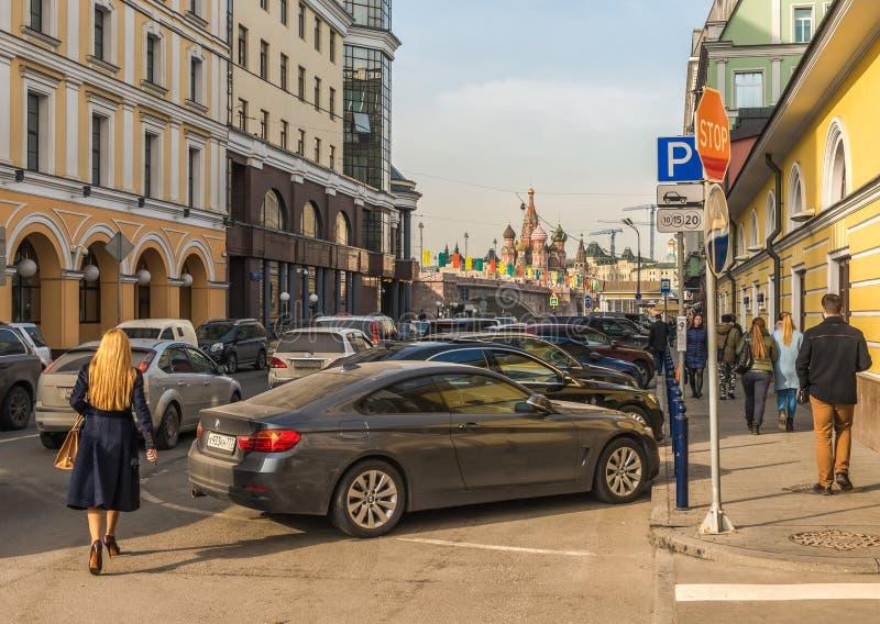Ulitsa Balchug in Moskou stock foto's
