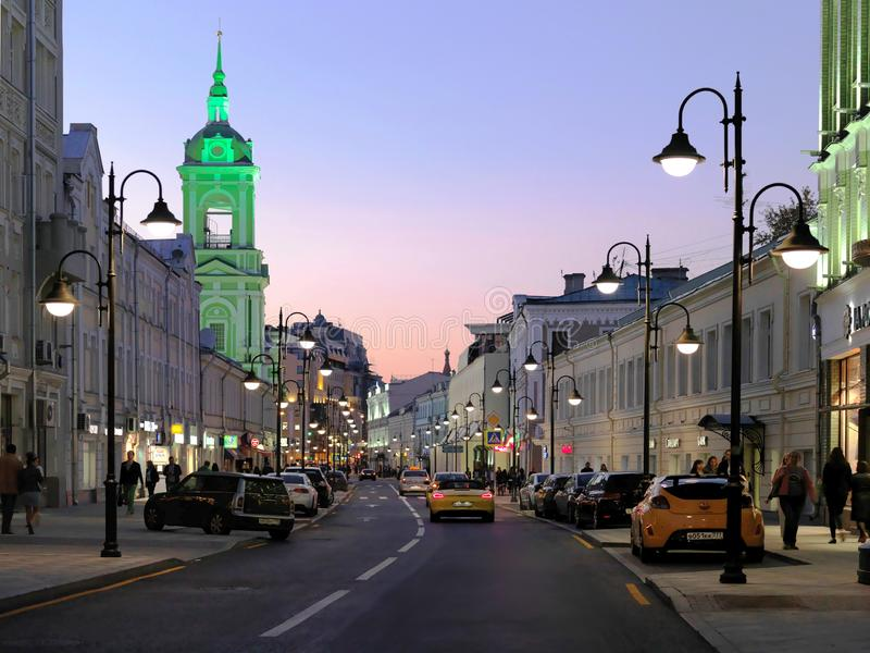 Ulitsa Pyatnitskaya, Rusland, Moskou royalty-vrije stock afbeelding