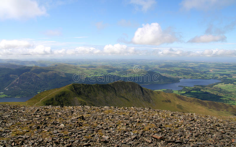 Ullock Pike. The Cumbrian mountain ridge of Lonside Edge and Ullock Pike seen from the summit of Skiddaw with Bassenthwaite Lake behind. A fine example of an royalty free stock photos