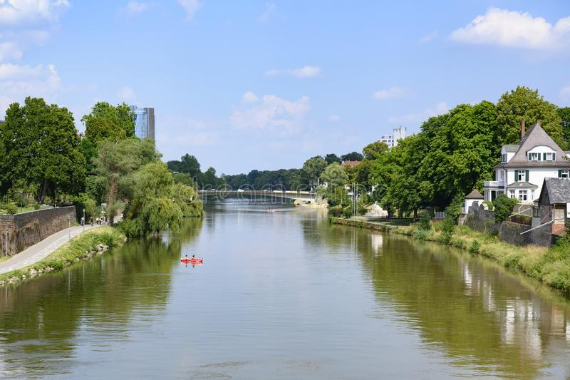Danuber river between Ulm and Neu-Ulm, Bavaria, South of Germany stock photos