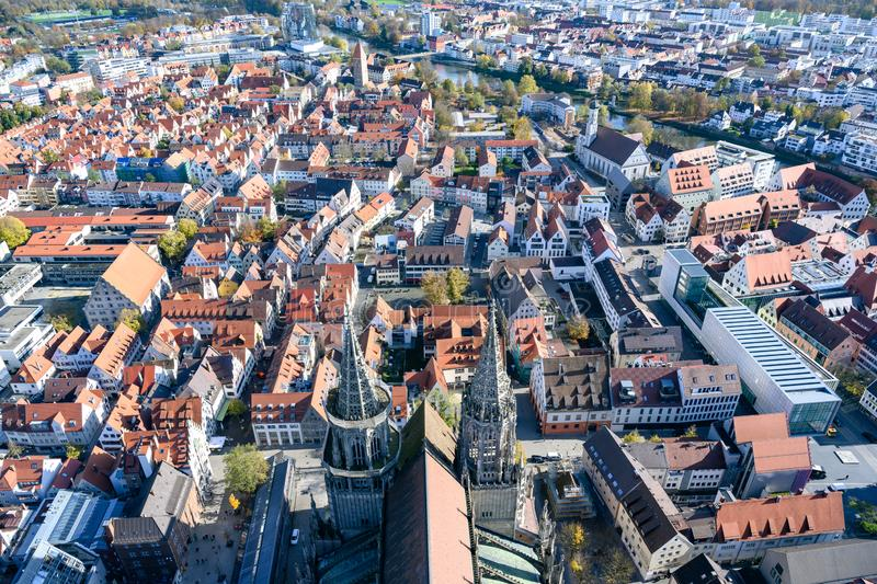 View from Tower of Ulm Minster to twin cities: City of Ulm - Baden-Wuerttemberg - and Neu Ulm - Bavaria -  River Danube, Germany royalty free stock photos