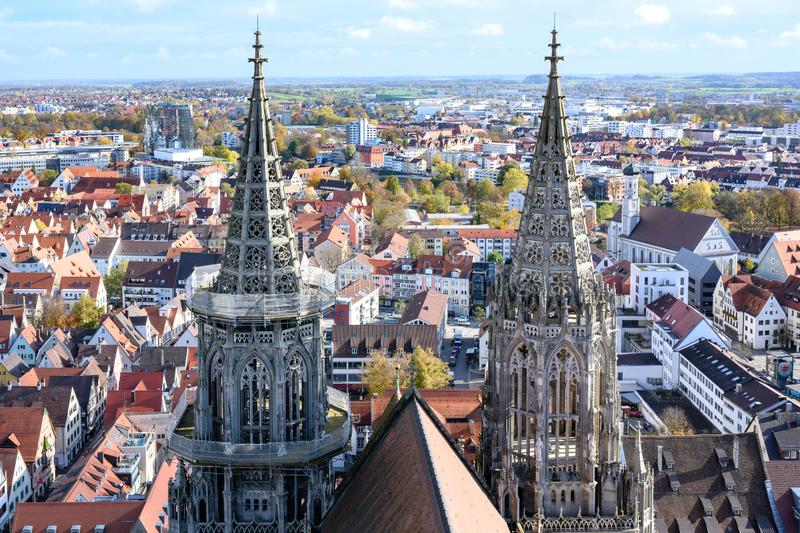View from Tower of Ulm Minster, Ulm Cathedral,  to City of Ulm - Baden-Wuerttemberg, Germany stock image