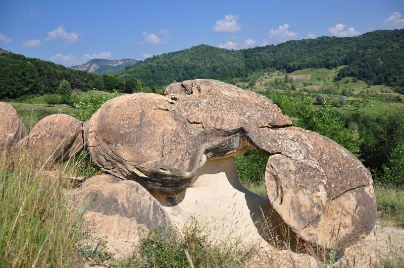 Ulmet concretions (Babele de la Ulmet). The concretions from Ulmet, named Babele de la Ulmet in Buzau County. Romania royalty free stock image
