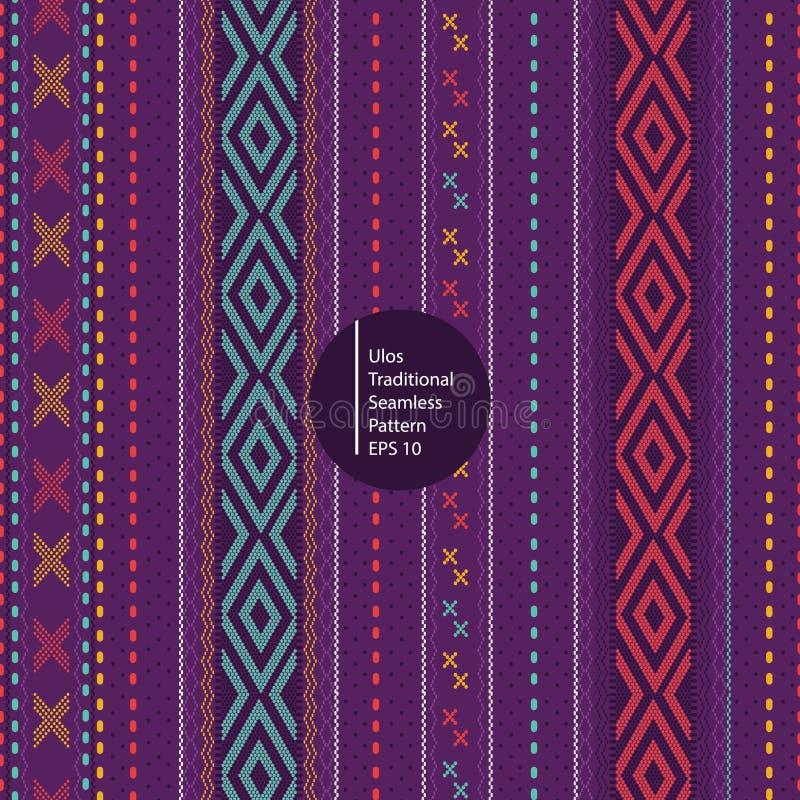 Ulos traditionell batik från för indonesia för norr sumatera bakgrund sömlös färgrik modell stock illustrationer
