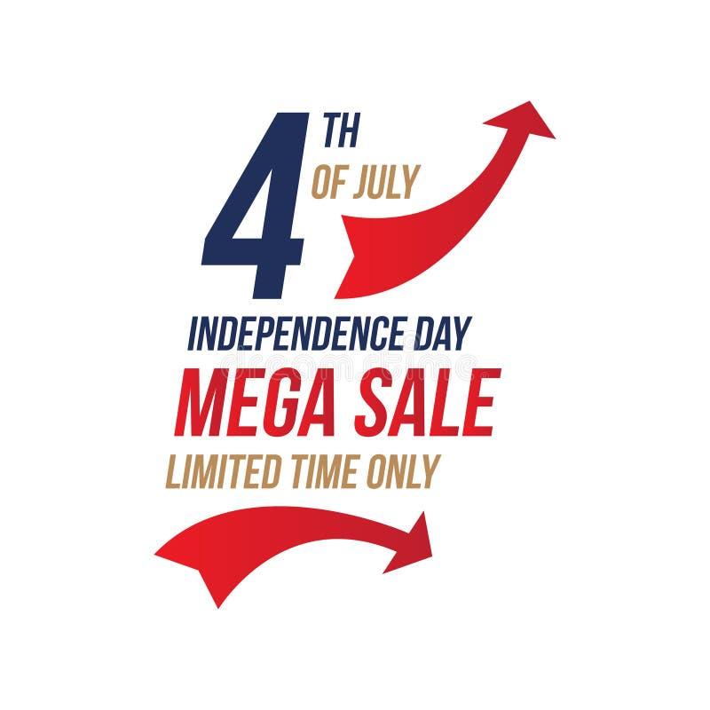 Ulotka Świętuje Szczęśliwego 4th Lipiec - dzień niepodległości z Megiej sprzedaży Krajowym Amerykańskim wakacyjnym wydarzeniem P? ilustracji
