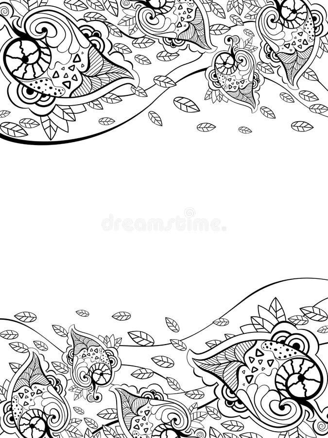 Ulotka deseniuje z czarnymi liśćmi na białym tle obraz stock