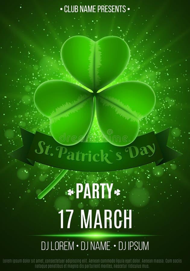 Ulotka dla Szczęśliwego świętego Patrick ` s dnia przyjęcia Zielony błysk światło Abstrakcjonistyczni bokeh światła i rozjarzoneg royalty ilustracja