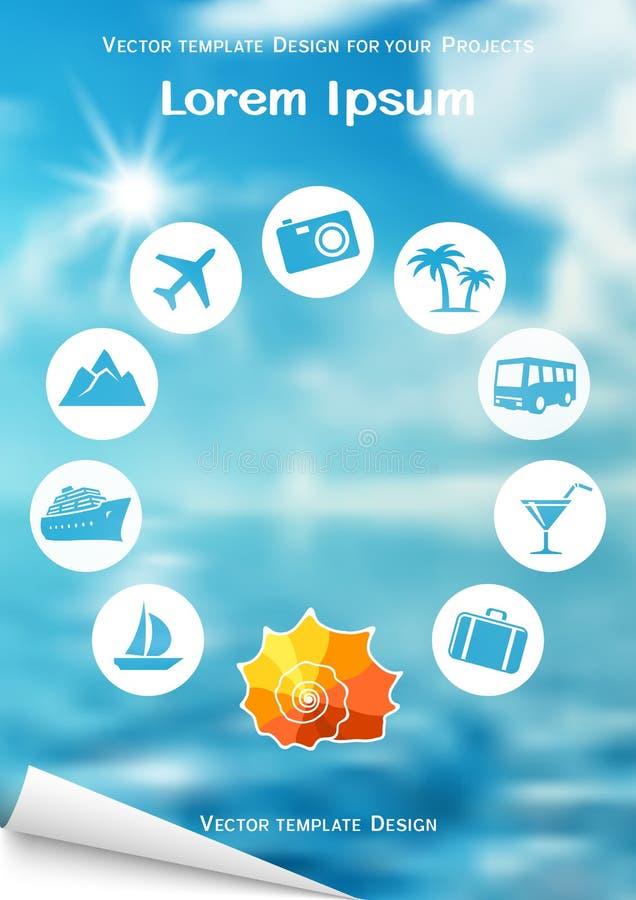 Ulotka projekt z dennymi skorupy i podróży ikonami na błękitnym tle ilustracji